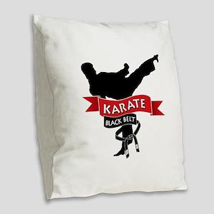 Karate Black Belt Burlap Throw Pillow