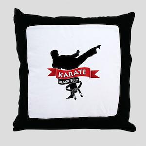 Karate Black Belt Throw Pillow