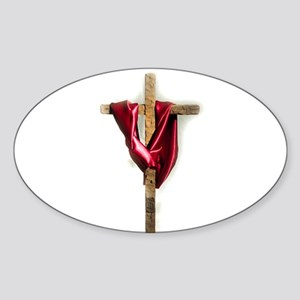 Cross with Red Robe Oval Sticker