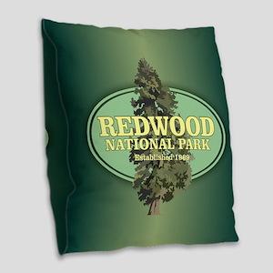 Redwood National Park Burlap Throw Pillow