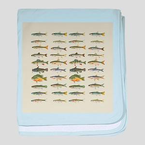 Freshwater Fish Chart baby blanket