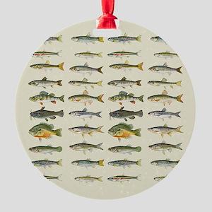 Freshwater Fish Chart Round Ornament