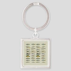 Freshwater Fish Chart Square Keychain