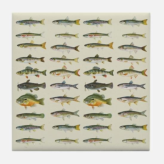 Freshwater Fish Chart Tile Coaster