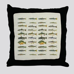 Freshwater Fish Chart Throw Pillow