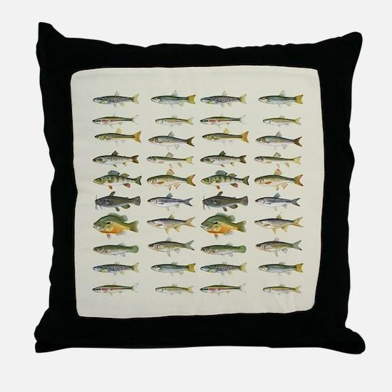 Freshwater Fish Chart Throw Pillow