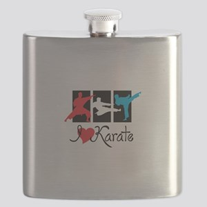 I Love Karate Flask