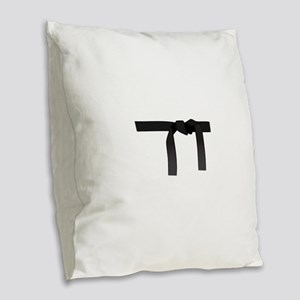 BLACK BELT Burlap Throw Pillow