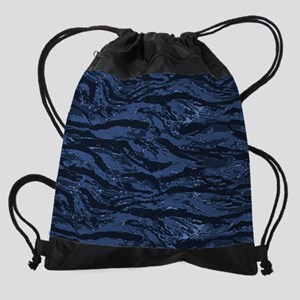 Blue Striped Camo Drawstring Bag