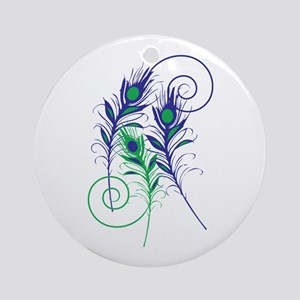 Peacock Feathers Ornament (Round)