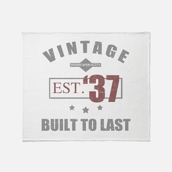 Vintage 1937 Birth Year Throw Blanket