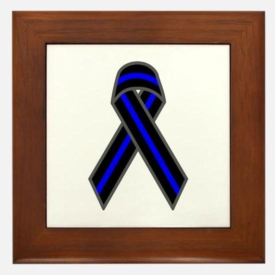 Blue Line Ribbon Framed Tile
