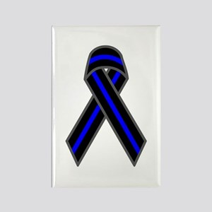 Blue Line Ribbon Rectangle Magnet