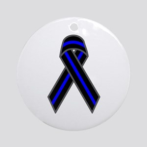 Blue Line Ribbon Ornament (Round)