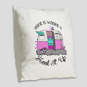 vintage pink shasta Burlap Throw Pillow