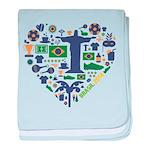 Brazil (Brasil) World Cup Heart baby blanket