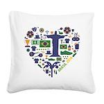 Brazil (Brasil) World Cup Hea Square Canvas Pillow