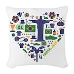 Brazil (Brasil) World Cup Hear Woven Throw Pillow