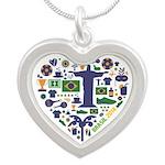 Brazil (Brasil) World Cup He Silver Heart Necklace