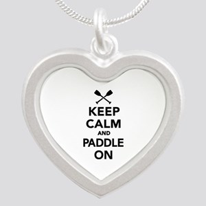 Keep calm and Paddle on Silver Heart Necklace