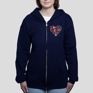 Croatia World Cup 2014 Heart Women's Zip Hoodie