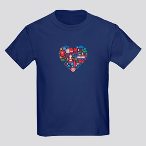 Croatia World Cup 2014 Heart Kids Dark T-Shirt