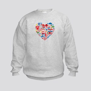 Croatia World Cup 2014 Heart Kids Sweatshirt