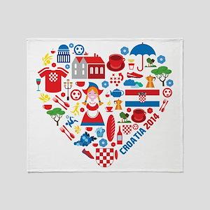 Croatia World Cup 2014 Heart Throw Blanket