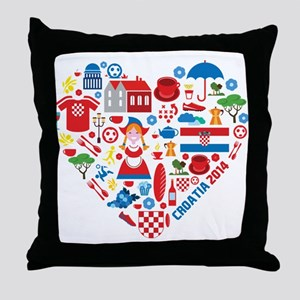 Croatia World Cup 2014 Heart Throw Pillow