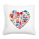 Croatia World Cup 2014 Heart Square Canvas Pillow