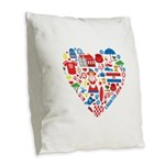 Croatia World Cup 2014 Heart Burlap Throw Pillow