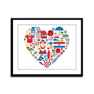 Croatia World Cup 2014 Heart Framed Panel Print