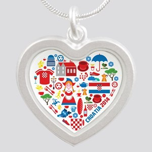 Croatia World Cup 2014 Heart Silver Heart Necklace