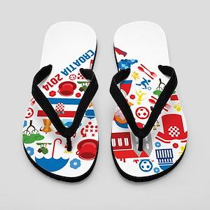Croatia World Cup 2014 Heart Flip Flops