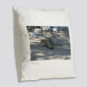 Bobcat Burlap Throw Pillow