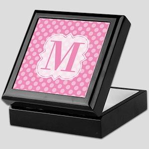 Monogram Pink Polka Dots Keepsake Box