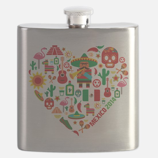 Mexico World Cup 2014 Heart Flask