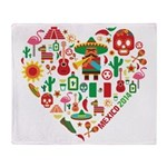 Mexico World Cup 2014 Heart Throw Blanket