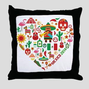 Mexico World Cup 2014 Heart Throw Pillow