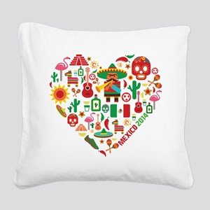 Mexico World Cup 2014 Heart Square Canvas Pillow
