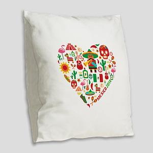 Mexico World Cup 2014 Heart Burlap Throw Pillow