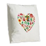 Mexico World Cup 2014 Heart Burlap Throw Pillow