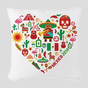 Mexico World Cup 2014 Heart Woven Throw Pillow