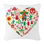 Mexico World Cup 2014 Heart Woven Throw Pillow
