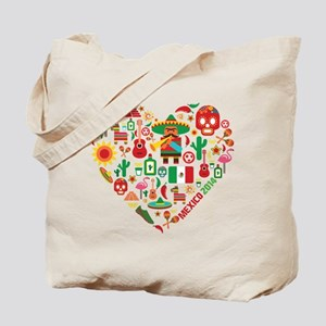 Mexico World Cup 2014 Heart Tote Bag