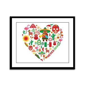 Mexico World Cup 2014 Heart Framed Panel Print