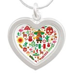 Mexico World Cup 2014 Heart Silver Heart Necklace