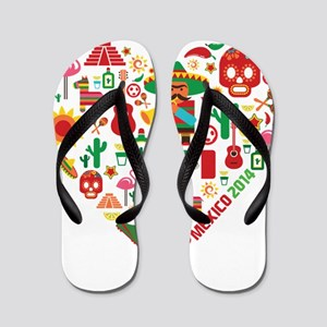 Mexico World Cup 2014 Heart Flip Flops