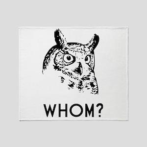 Hoo Who Whom Grammar Owl Throw Blanket