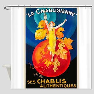 Chablisienne, Wine, Vintage Poster Shower Curtain